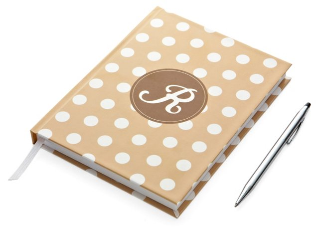 Hard Cover Journal, Beige & Brown