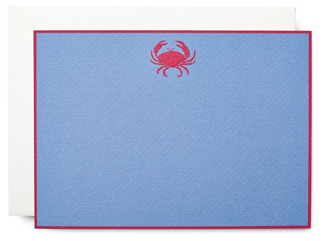 S/10 Crab Note Cards, Blue/Red