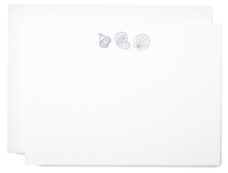 S/10 Shells Note Cards, White/Gray