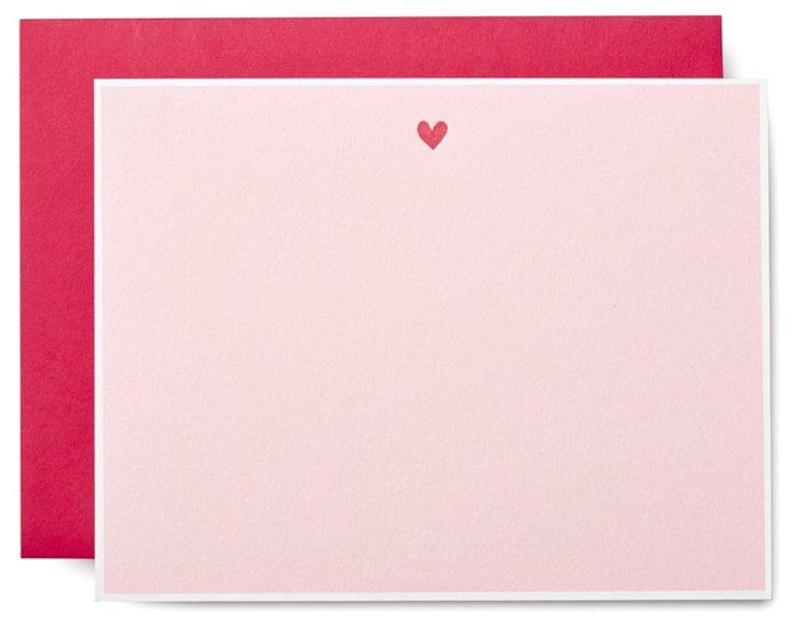 S/10 Heart Letterpress Note Cards, Pink