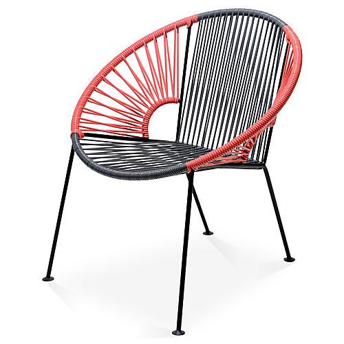 Ixtapa Lounge Chair, Gray/Coral