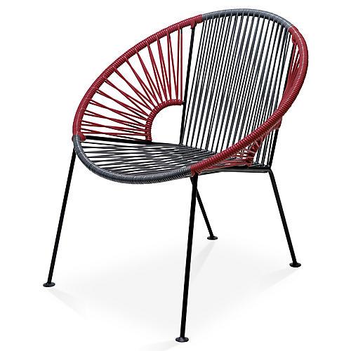 Ixtapa Lounge Chair, Gray/Burgundy