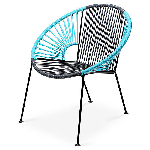 Ixtapa Lounge Chair, Gray/Baby Blue