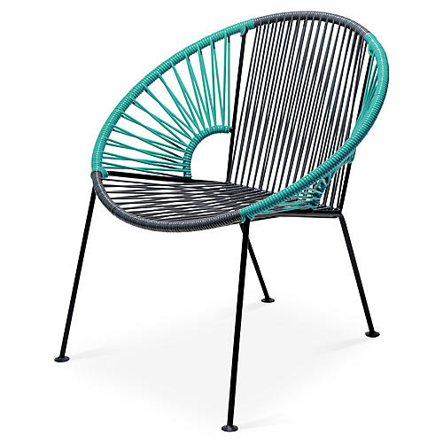 Ixtapa Lounge Chair, Gray/Turquoise