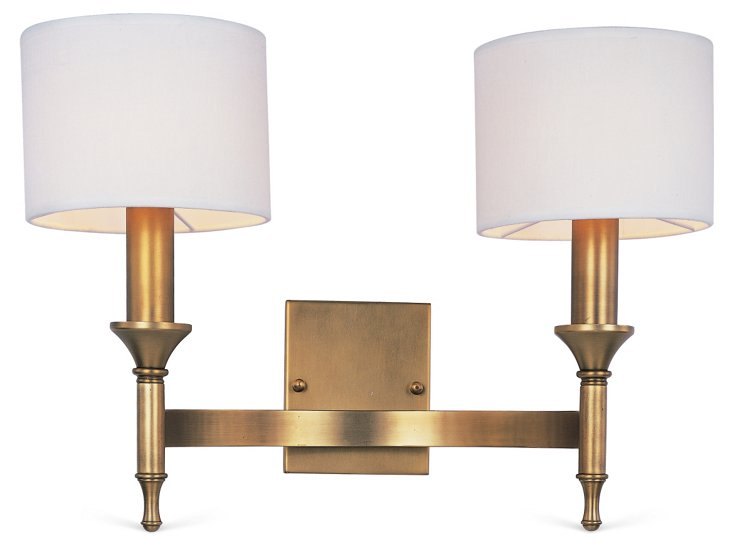 Brayton 2-Light Sconce, Brass