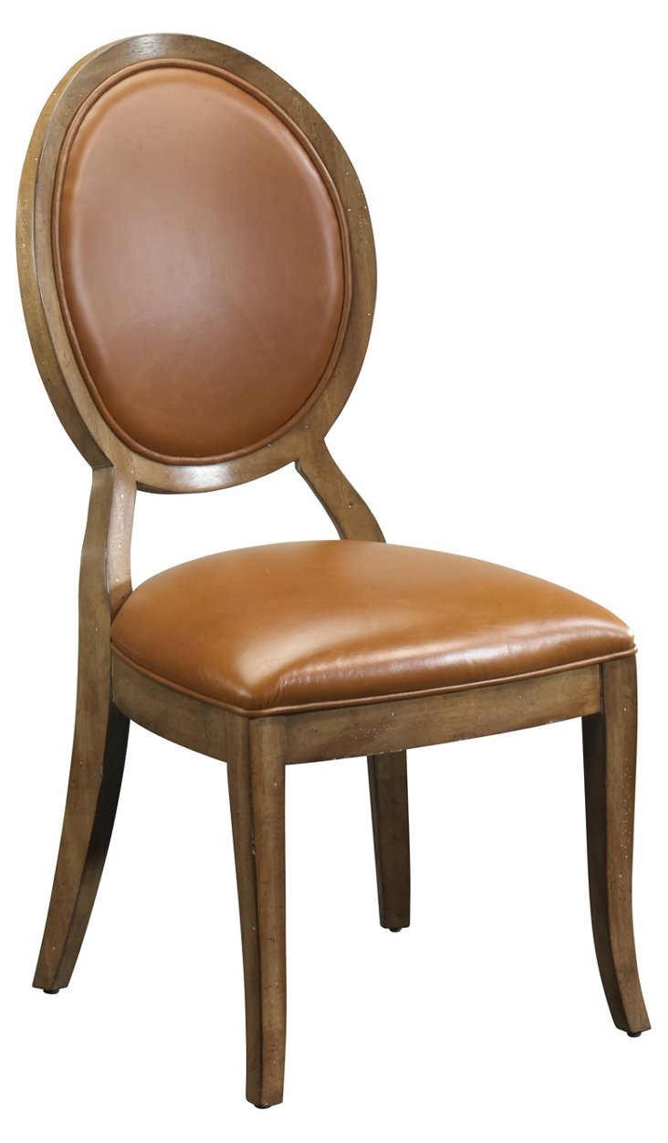 DNU,DiscMae Side Chair, Saddle Brown