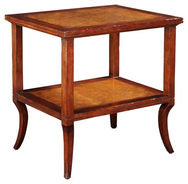 Farmhouse 2-Shelf Side Table, Mahogany
