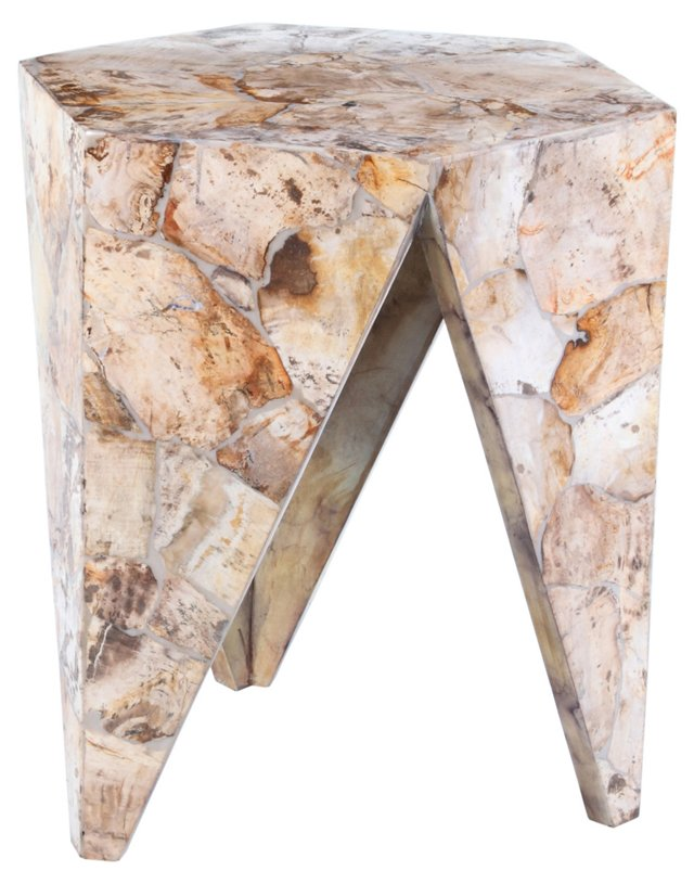 Petrified-Wood Hex Side Table