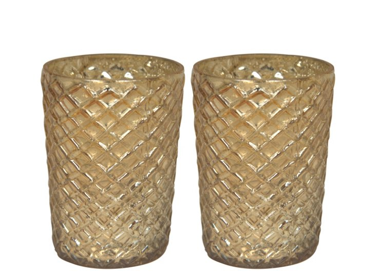 S/2 Gold Hex Votive Holders, Small
