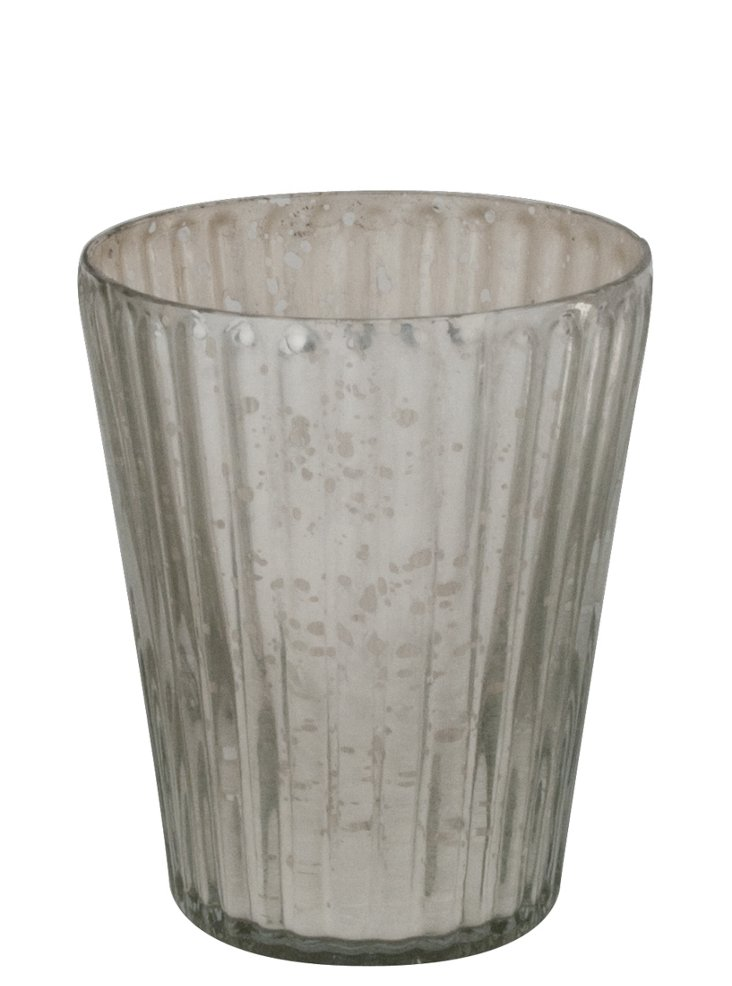 Silver Ribbed Votive Holder, Tapered