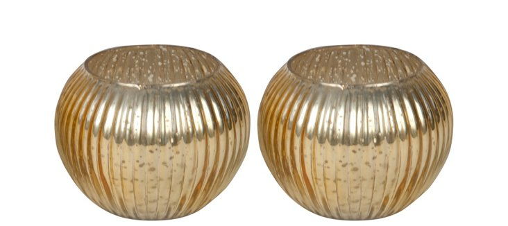 S/2 Gold Ribbed Votive Holders