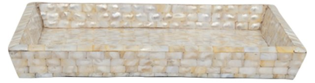 Wood & Mother of Pearl Rectangle Tray