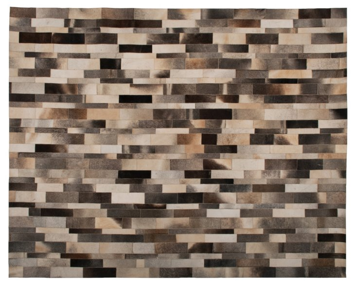 8'x10' Pavement Leather Hide, Gray/Mocha