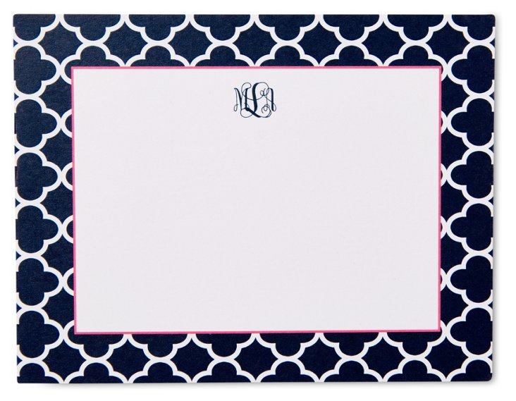 S/50 Custom Clover Note Cards, Navy/Pink