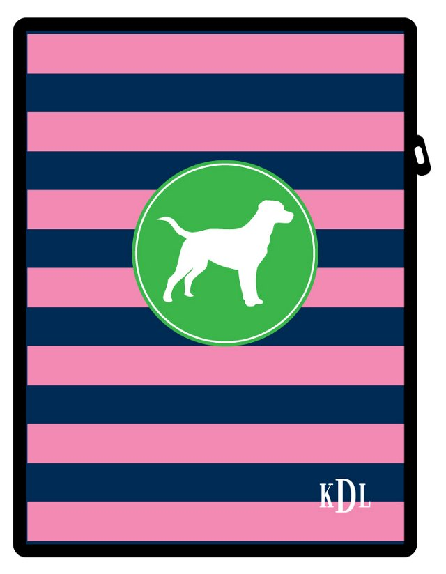 Custom Pup iPad Case, Navy/Pink Rugby