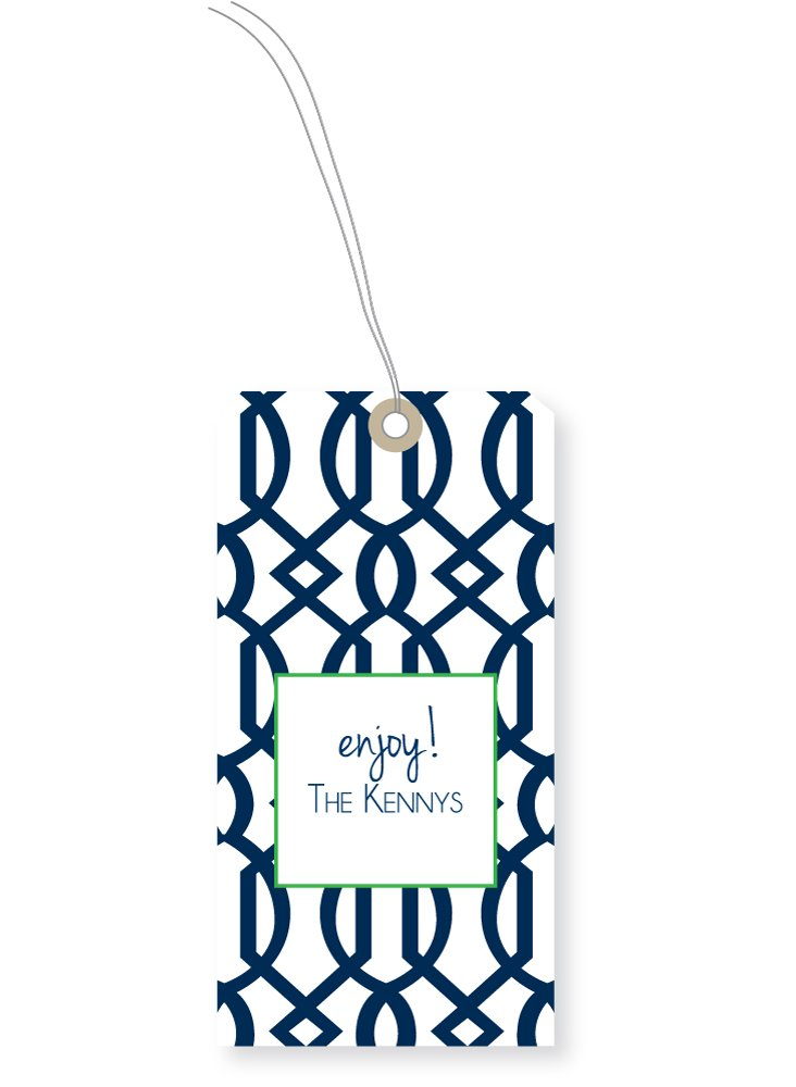 S24 Custom Trellis Gift Tags, Navy