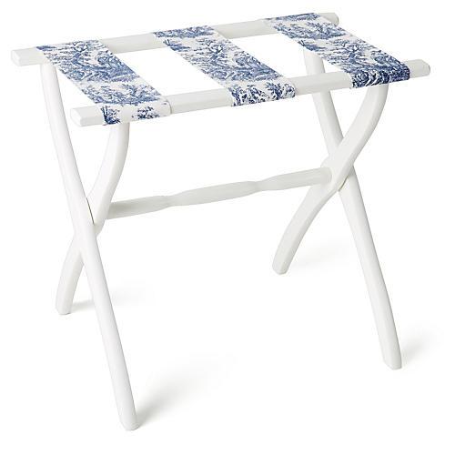 Ellen Luggage Rack, White/Blue Toile