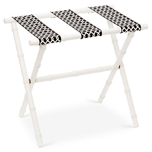 Eloise Bamboo Luggage Rack, White