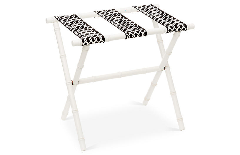 Eloise Bamboo Luggage Rack - White
