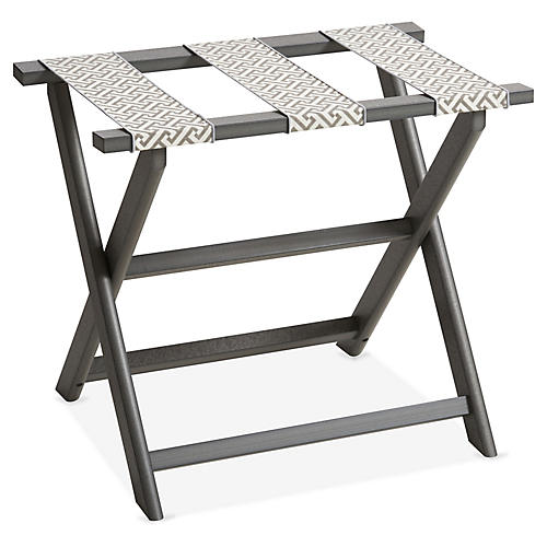 Greek Key Luggage Rack, Gray/White