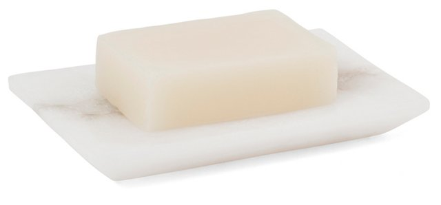 Solid Alabaster Soap Dish, White