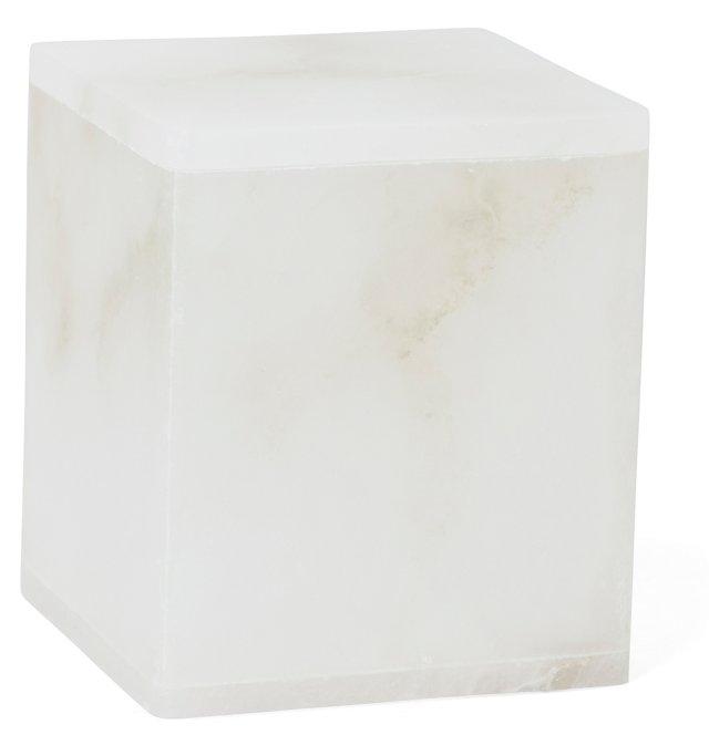 Solid Alabaster Lidded Canister, White