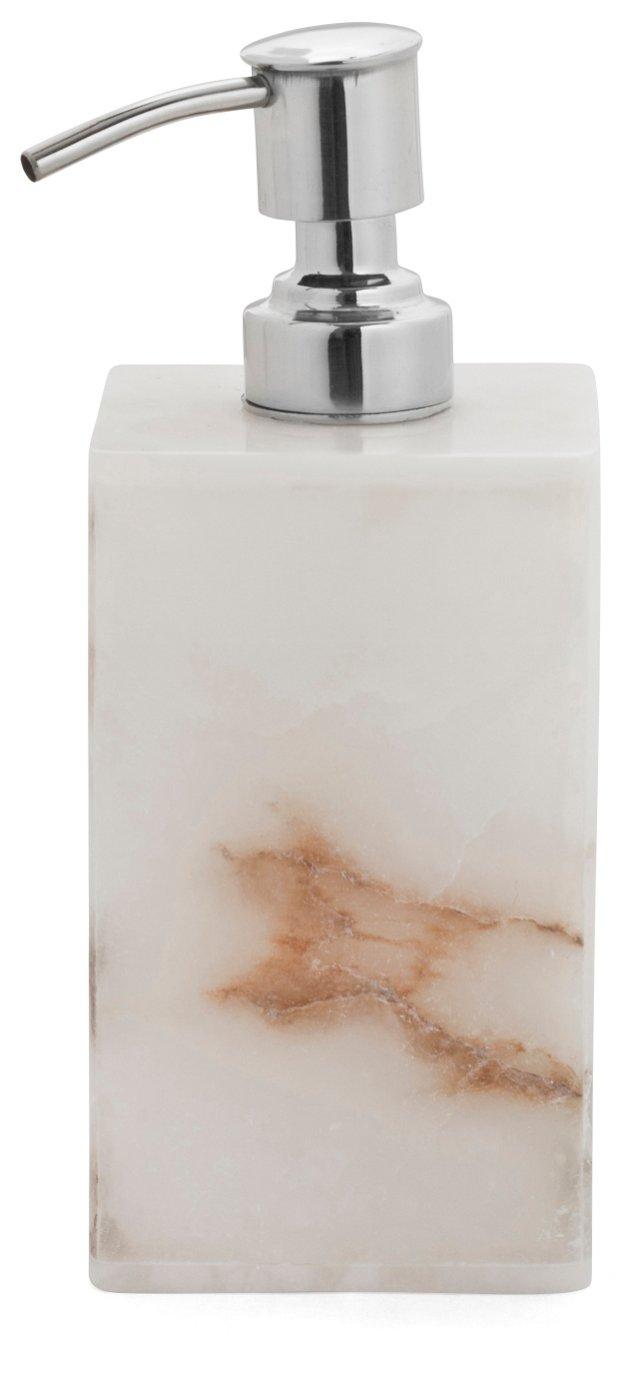 Solid Alabaster Lotion Dispenser, White