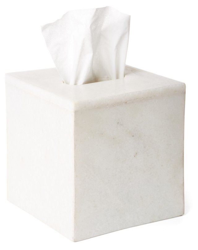 Marble Tissue Box Cover, White