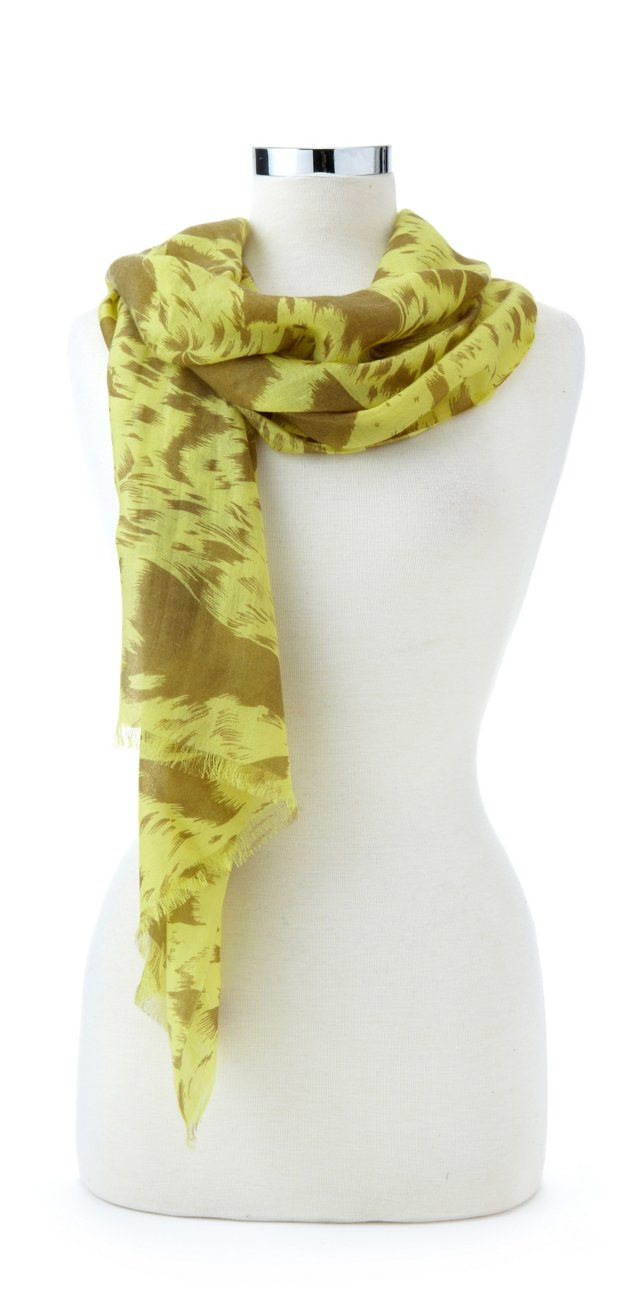 Cashmere/Silk Fringe Wrap, Pale Lime
