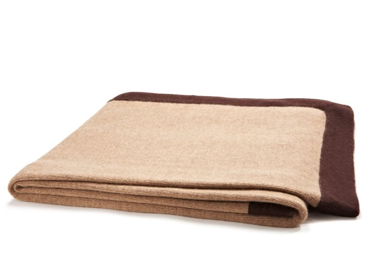 Contrast Cashmere Throw, Taupe/Espresso