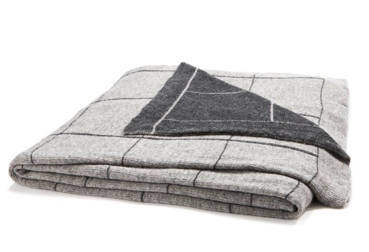 Square Throw, Light Gray/Charcoal