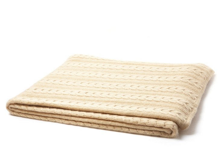 Cable-Knit Throw, Cream