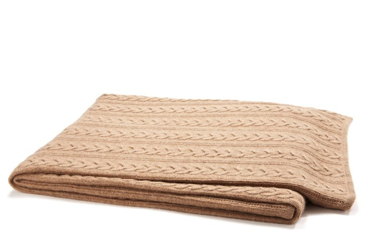 Cable-Knit Throw, Taupe