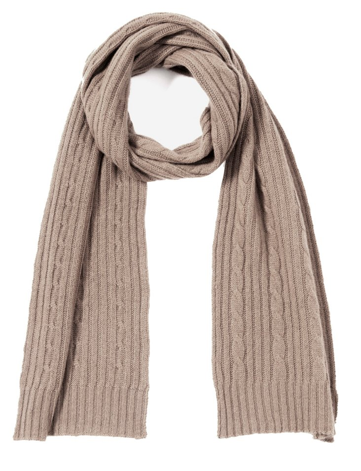 Cashmere Cable Scarf, Nile Brown