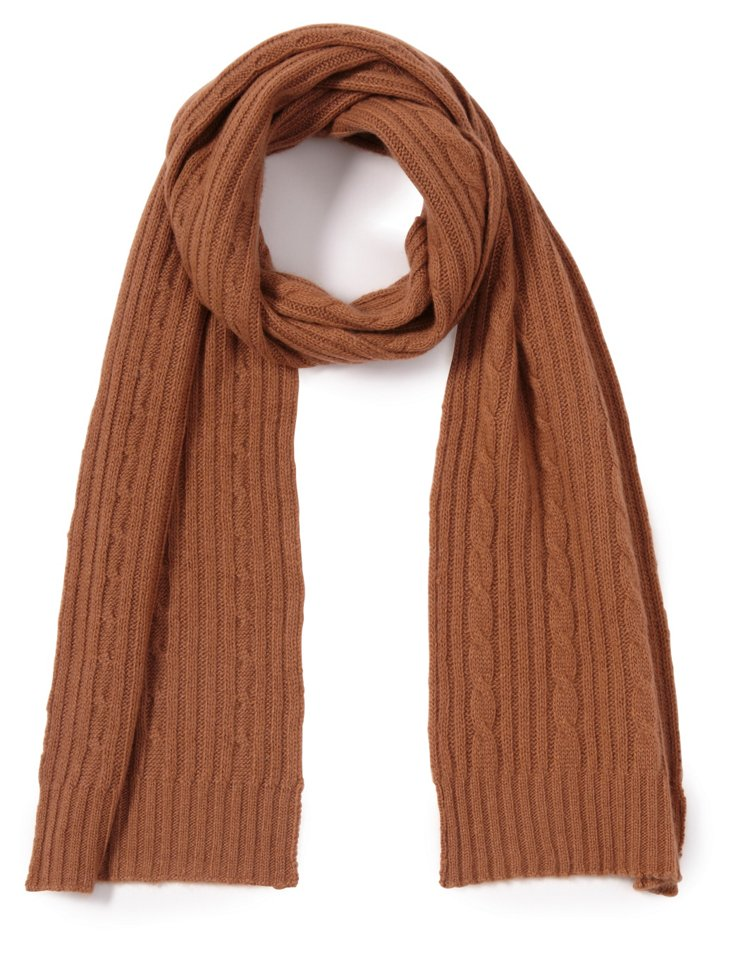 Cashmere Cable Scarf, Toffee