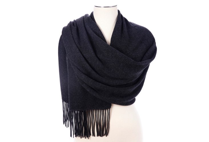 Cashmere Fringed Wrap, Charcoal