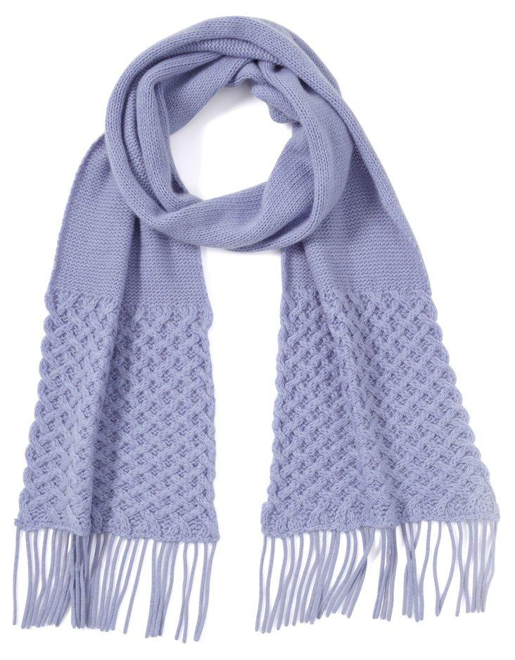 Basket Weave Scarf, Periwinkle