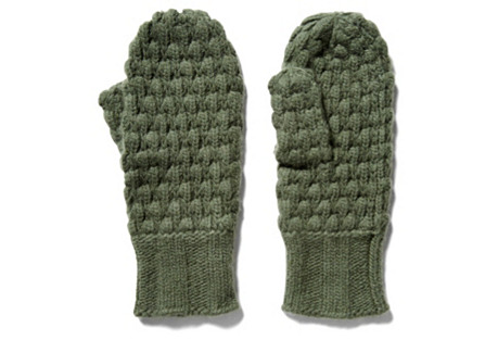 Cashmere Chunky Popcorn Mittens, Loden