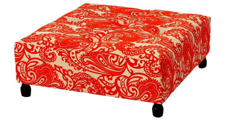 Saskia Floral Ottoman, Red-Orange/Cream