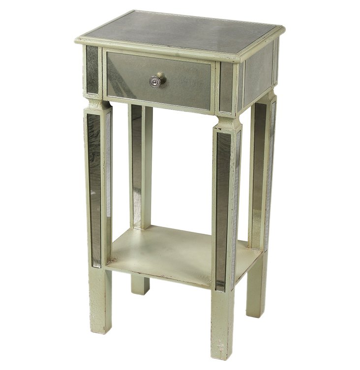 Ohler Mirrored Accent Stand, Light Sage