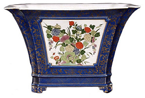 Blue Planter with Floral Panel