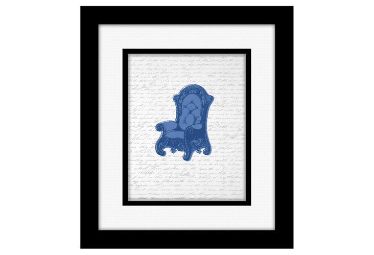 Blue Chair Silhouette Print
