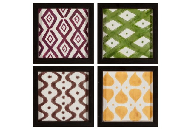 Set of 4 Ikat Framed Prints