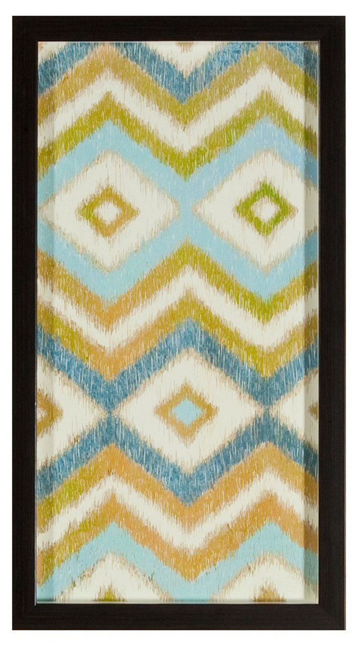 Blue & Green Ikat Print I
