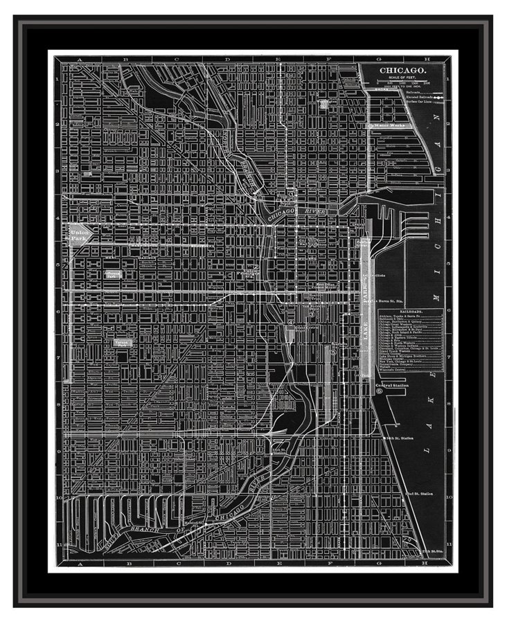 Map of Chicago Canvas