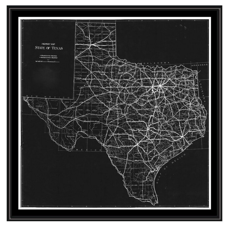 Map of Texas Canvas