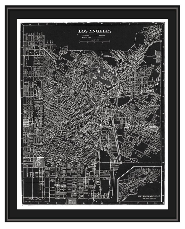 Map of Los Angeles Canvas