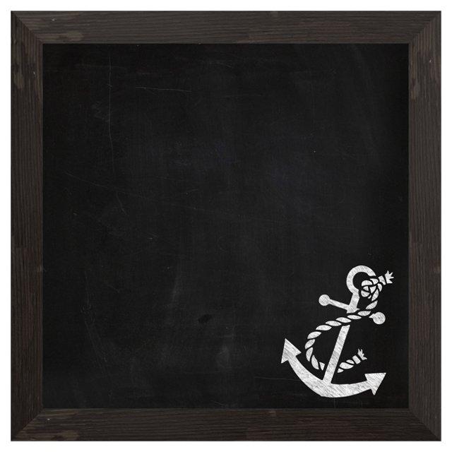 "19"" Square Anchor Chalkboard, Black"