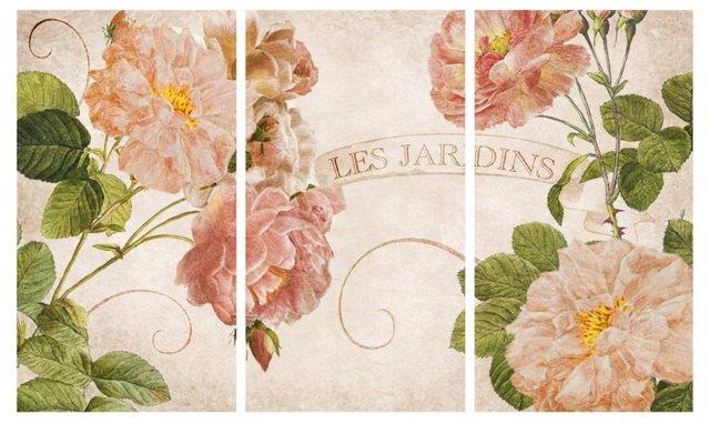 Les Jardins Triptych Canvas