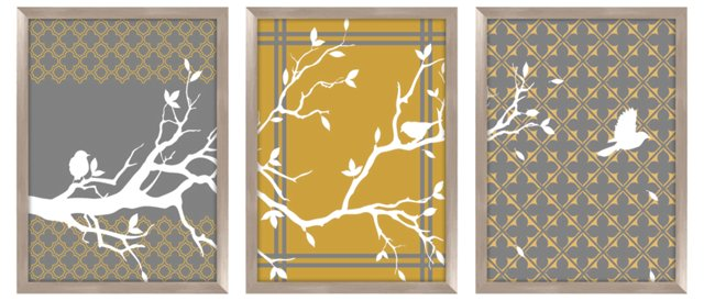 Tree Branch Silk Screen Triptych